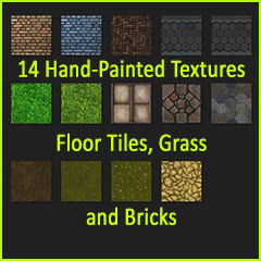 14 Hand-Painted Textures Floor Tiles, Grass and Bricks
